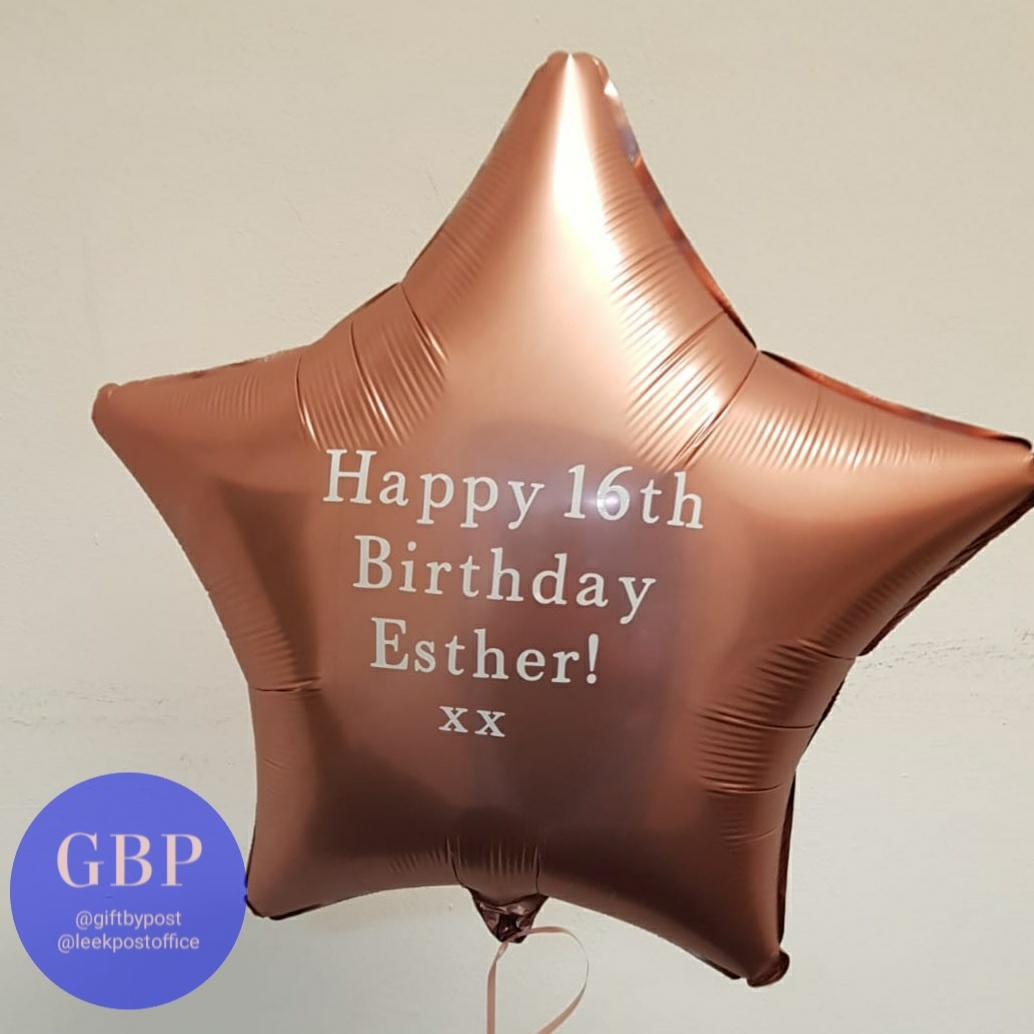 Rose Gold Star Foil Helium Balloon Inflated