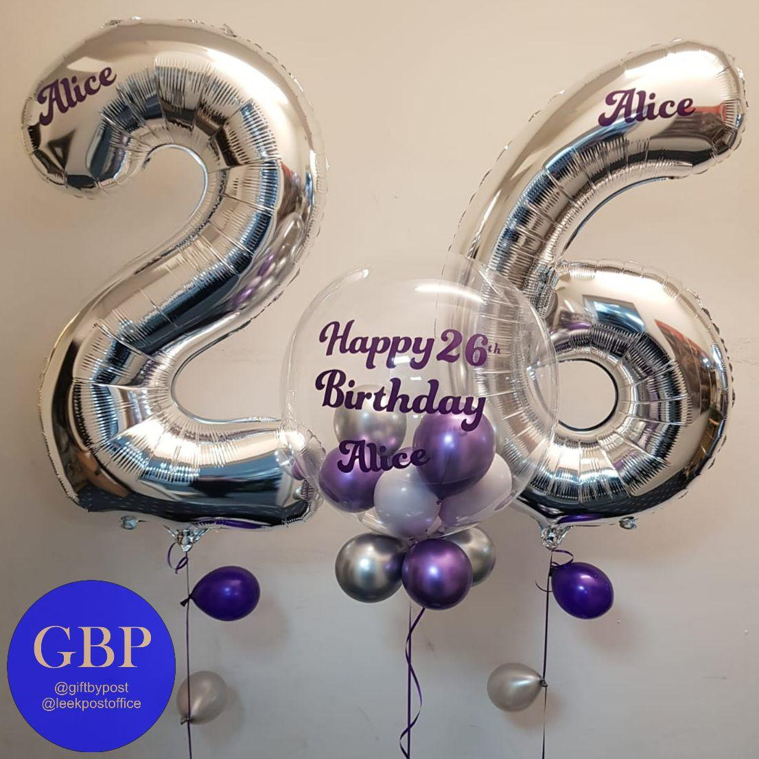Age 26 Silver and Purple Balloons