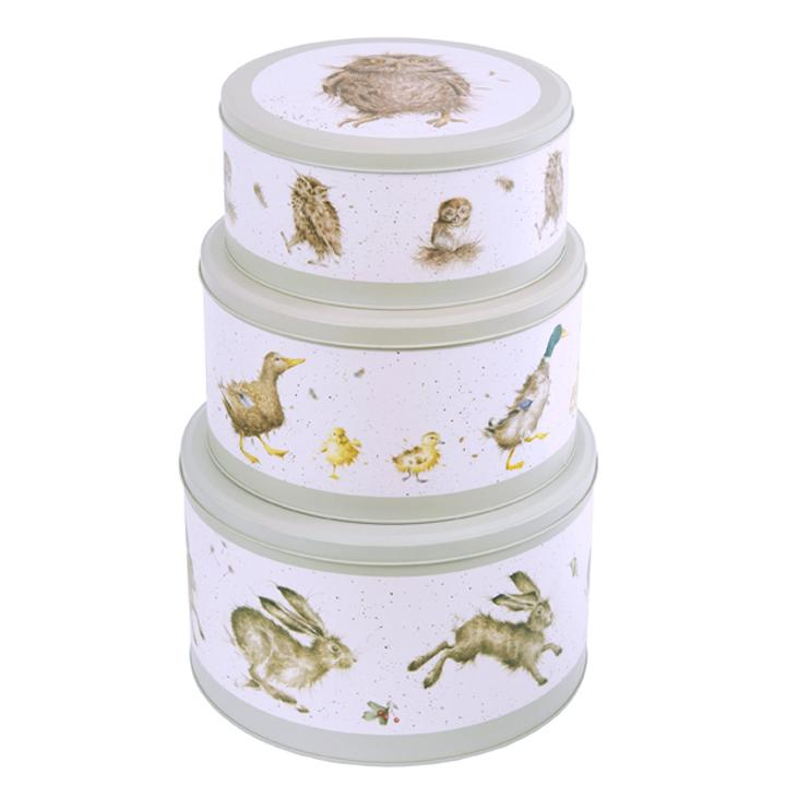 WRENDALE CAKE TIN NEST OF 3 STACKED