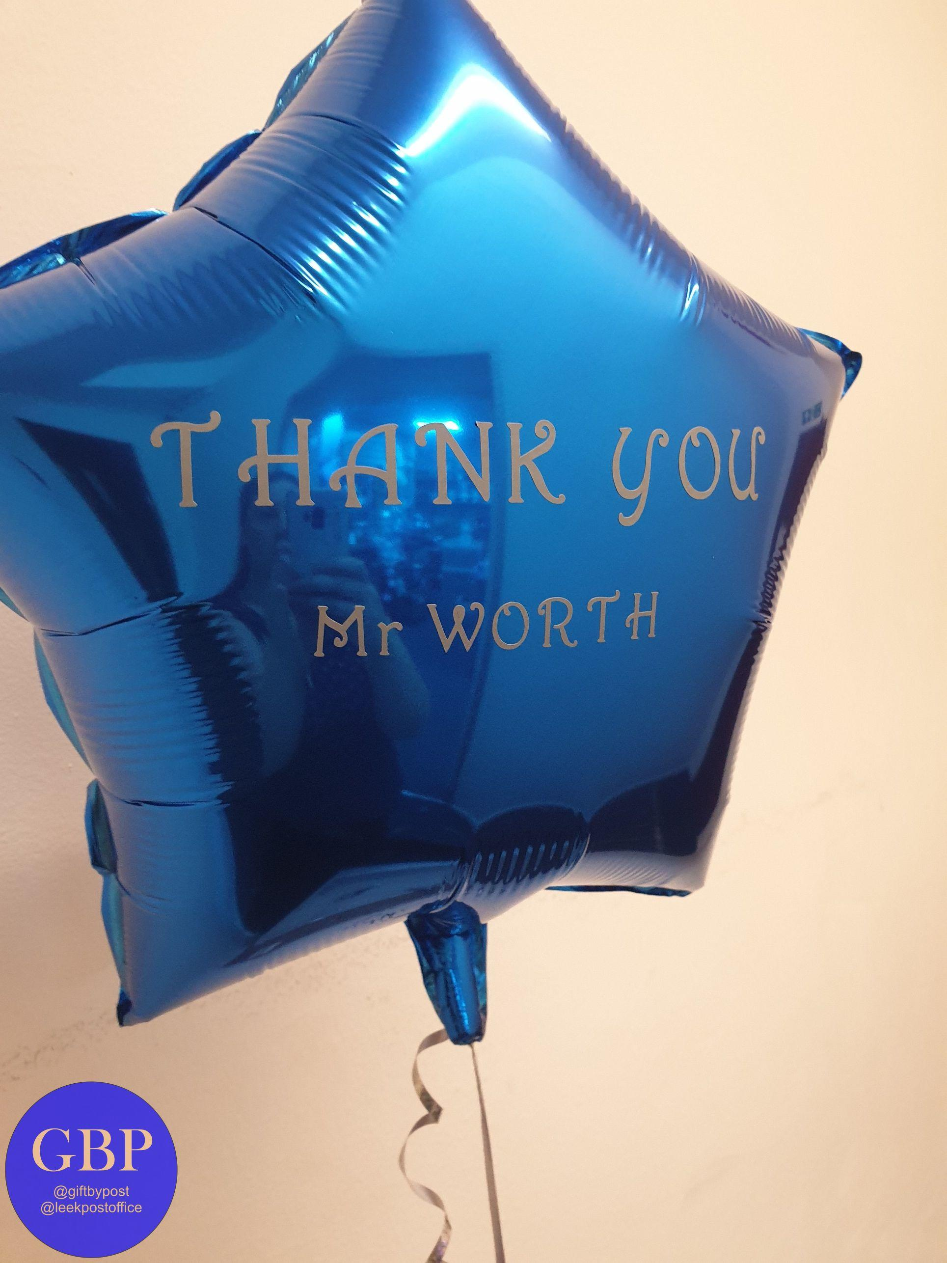 Personalised Dark Blue Star Foil Helium Balloon Inflated