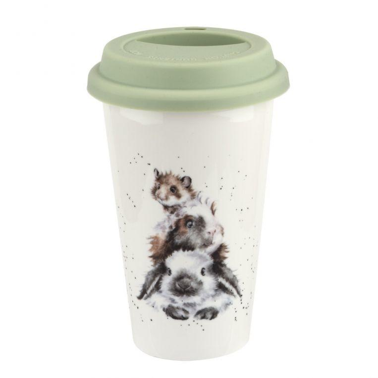 Wrendale Designs Portmeirion Travel Mug Rabbit Guinea Pig and Hamster