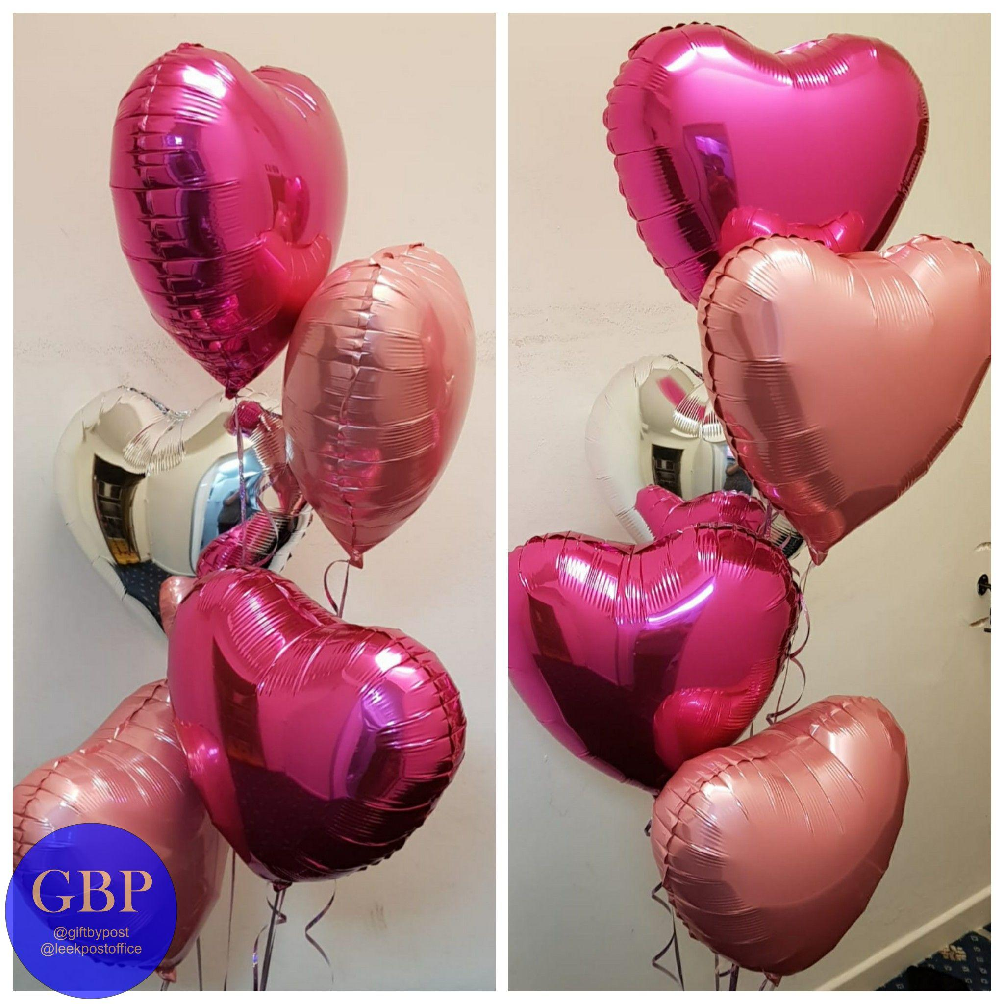 Bouquet of 5 heart balloons valentine's day