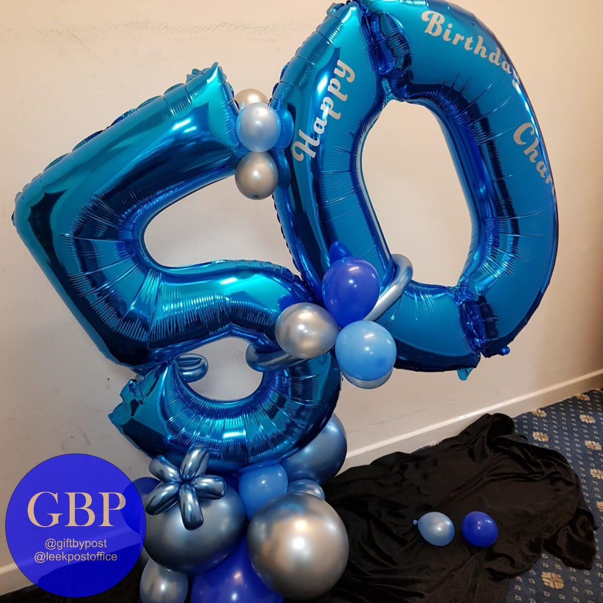 Large Numbers Balloon on a base, Age 50, Blue