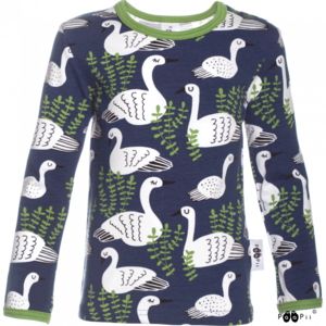 image of long sleeve top in swan blueberry print
