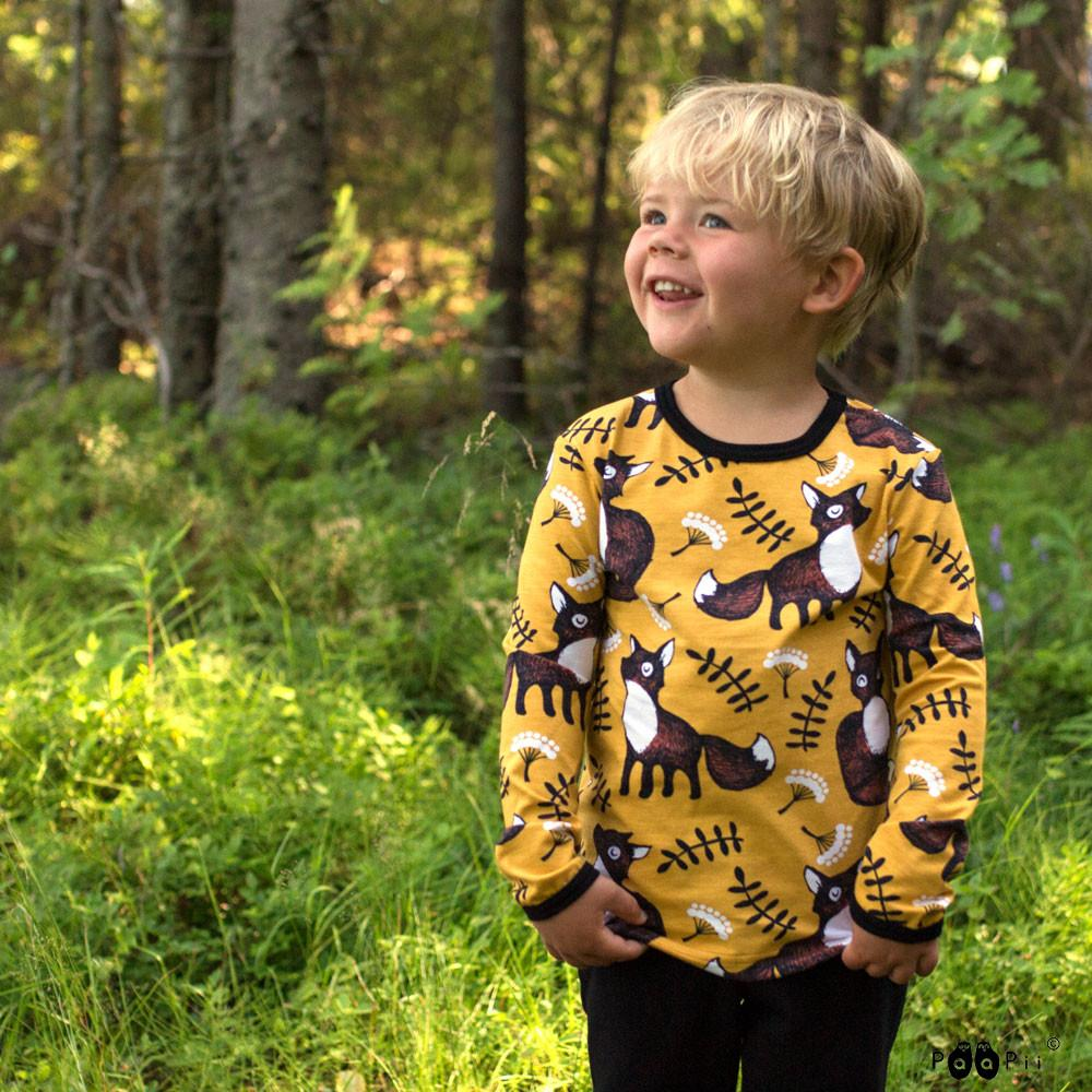image of long sleeve top in ochre fox print worn by kid