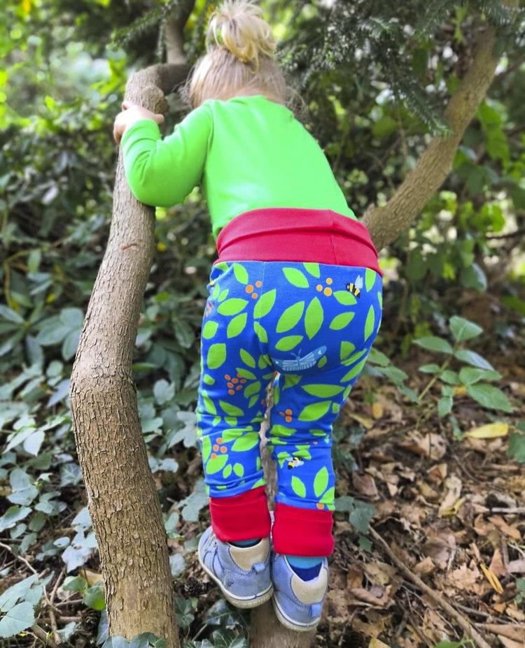 merle kids blue berry leggings worn by kid