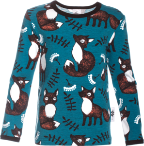 image of long sleeve top in petrol fox print