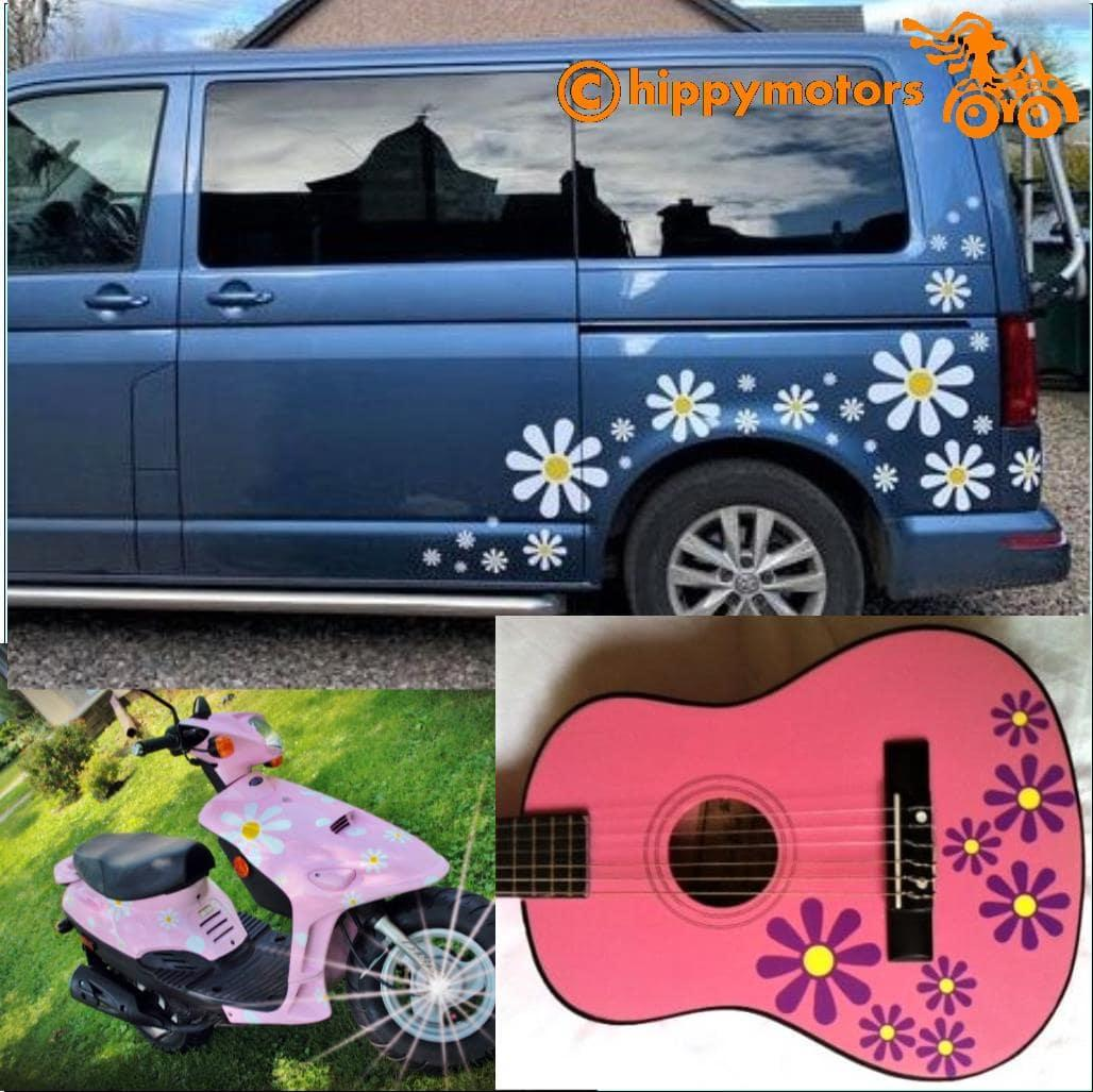 vinyl daisy decals for scooters guitars and camper vans