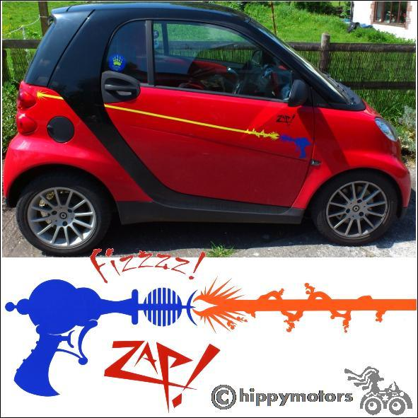 ray gun stripe vinyl decal on smart car