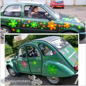 Scooby Doo flowers vinyl decals on cars caravans
