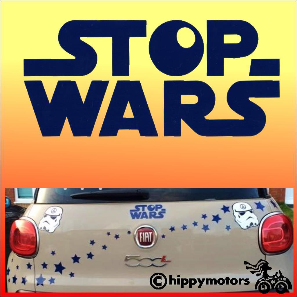 stop wars in a star wars style decal on a car
