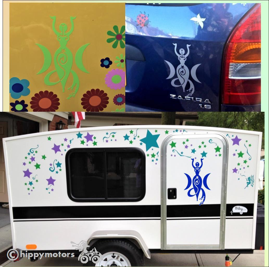 caravan goddess sticker star decals hippy motors