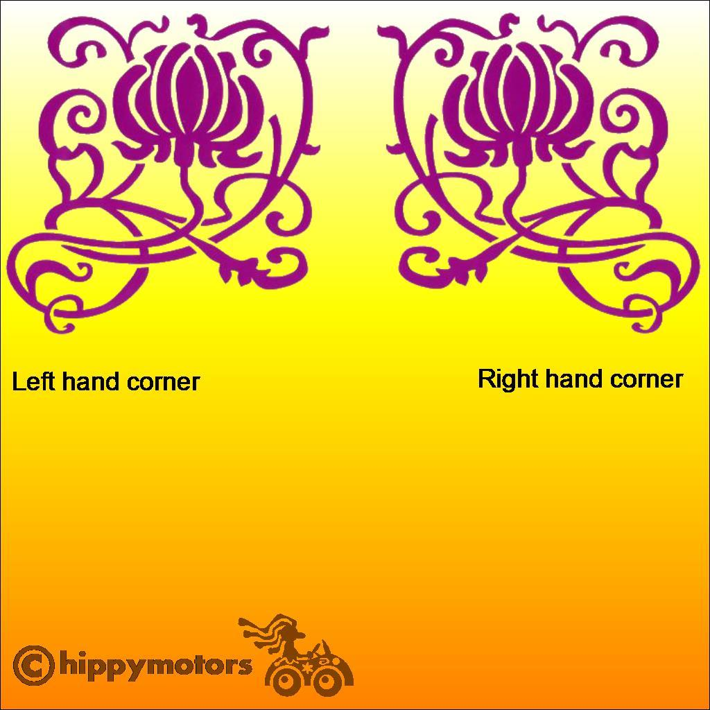 corner flower vinyl decal graphics for camper van bus