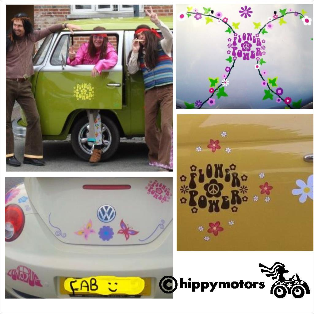 Flower Power sticker on hippy vans