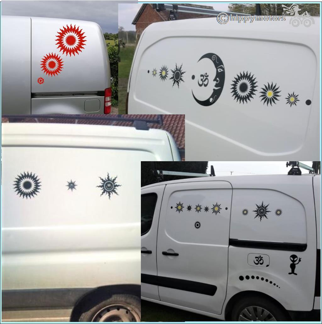 smiley cnd sun  stickers on vans, cars and caravans