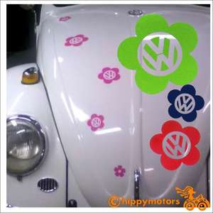 flowers stickers with vw logo on a beetle car