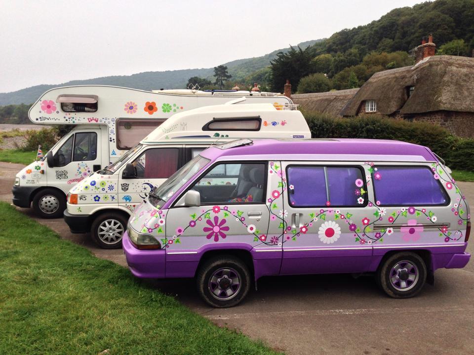 caravan motorhome and camper van with hippy flower stickers