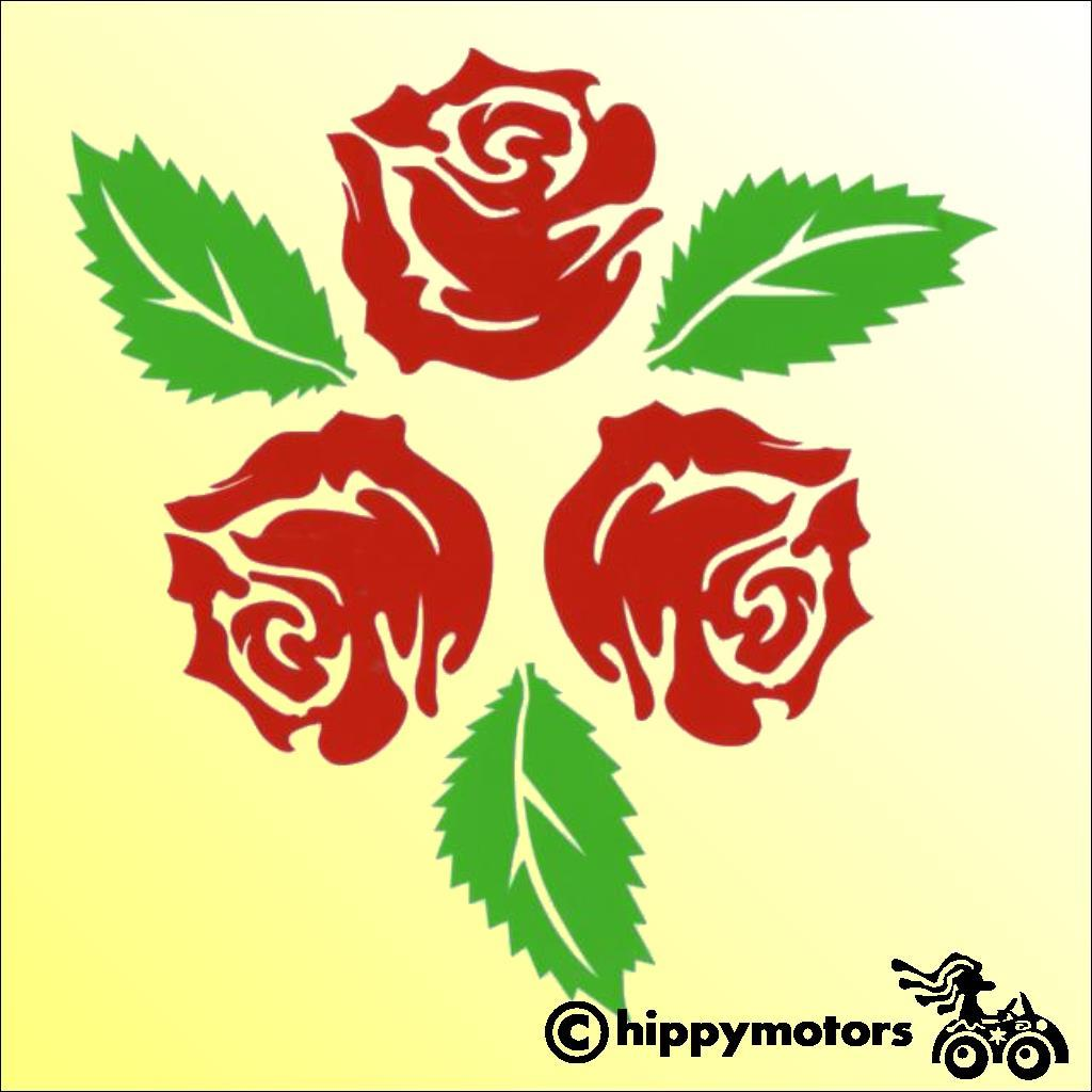 Rose decal with leaves