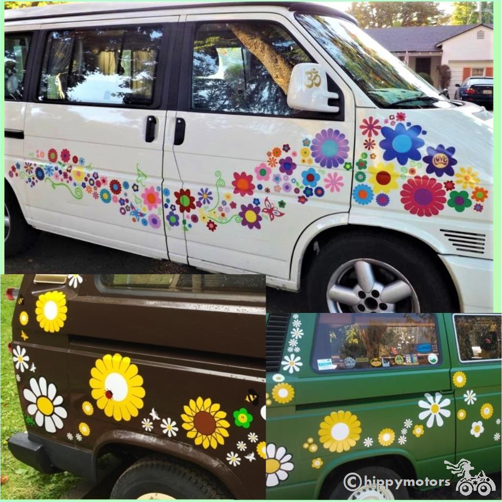 big daisies and gerberas vinyl decals for VW cars camper vans and cars