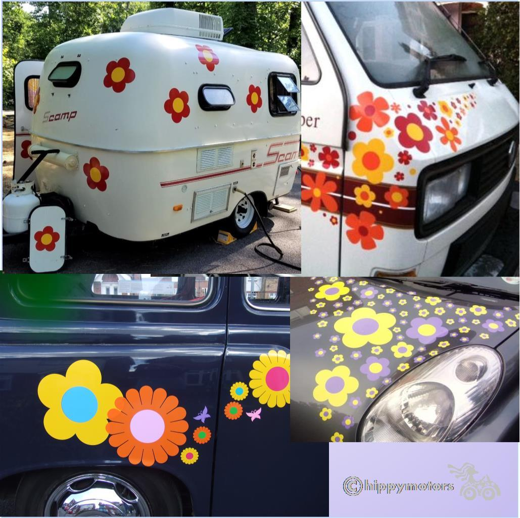 giant flower car decals vehicle transfers for caravans and camper vans