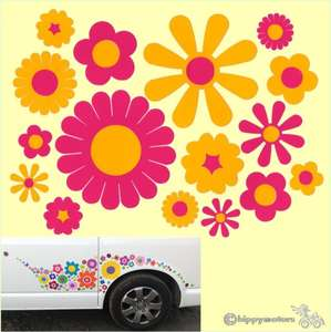 Mixed flower bed vinyl decals for vehicles walls windows