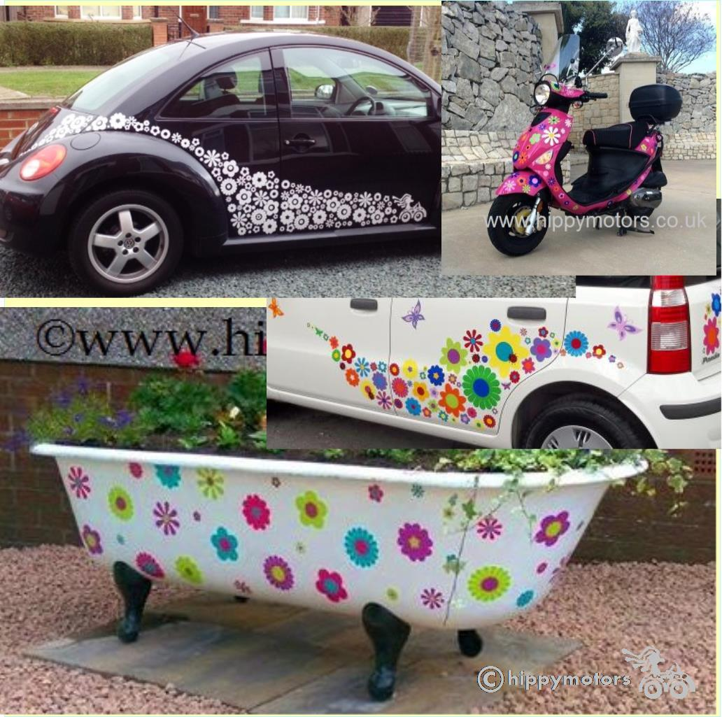 flower vinyl stickers on cars cows camper vans