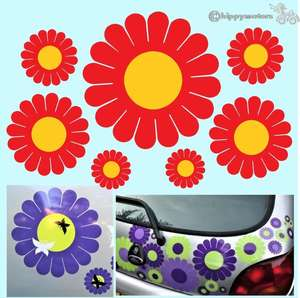 Gerbera daisy car stickers on car boot