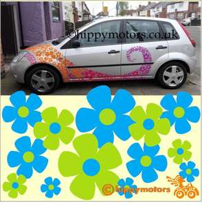 Flower vinyl decals on a car