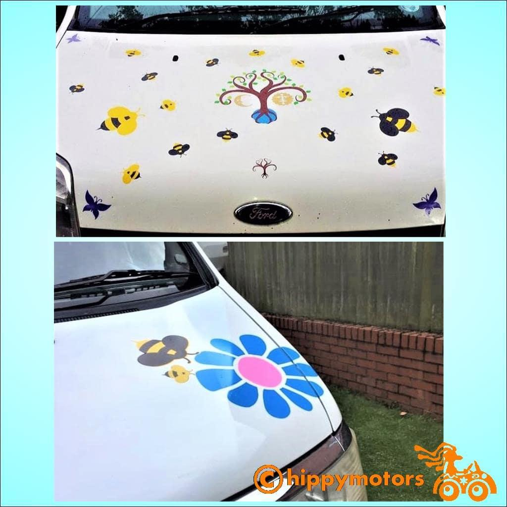 Bee transfers and flower decals on cars