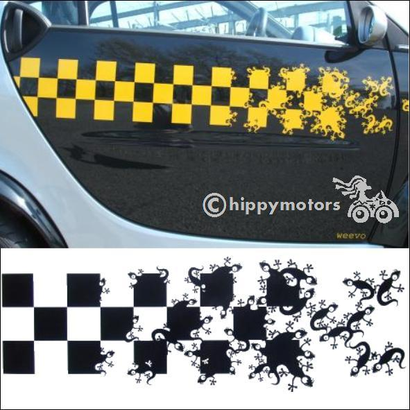 long stripe of checks and geckos vinyl decal for cars