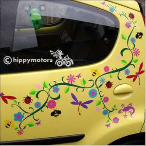 Flower vines dragonfly and gecko sticker kit on a car