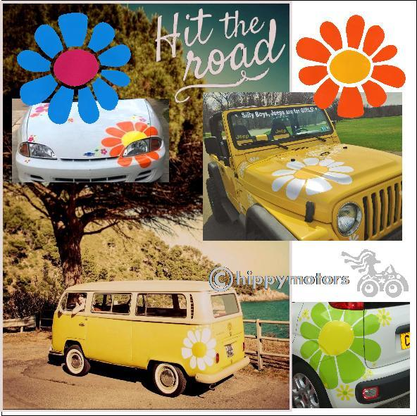 huge daisy vinyl sticker on cars combis kombis and camper vans