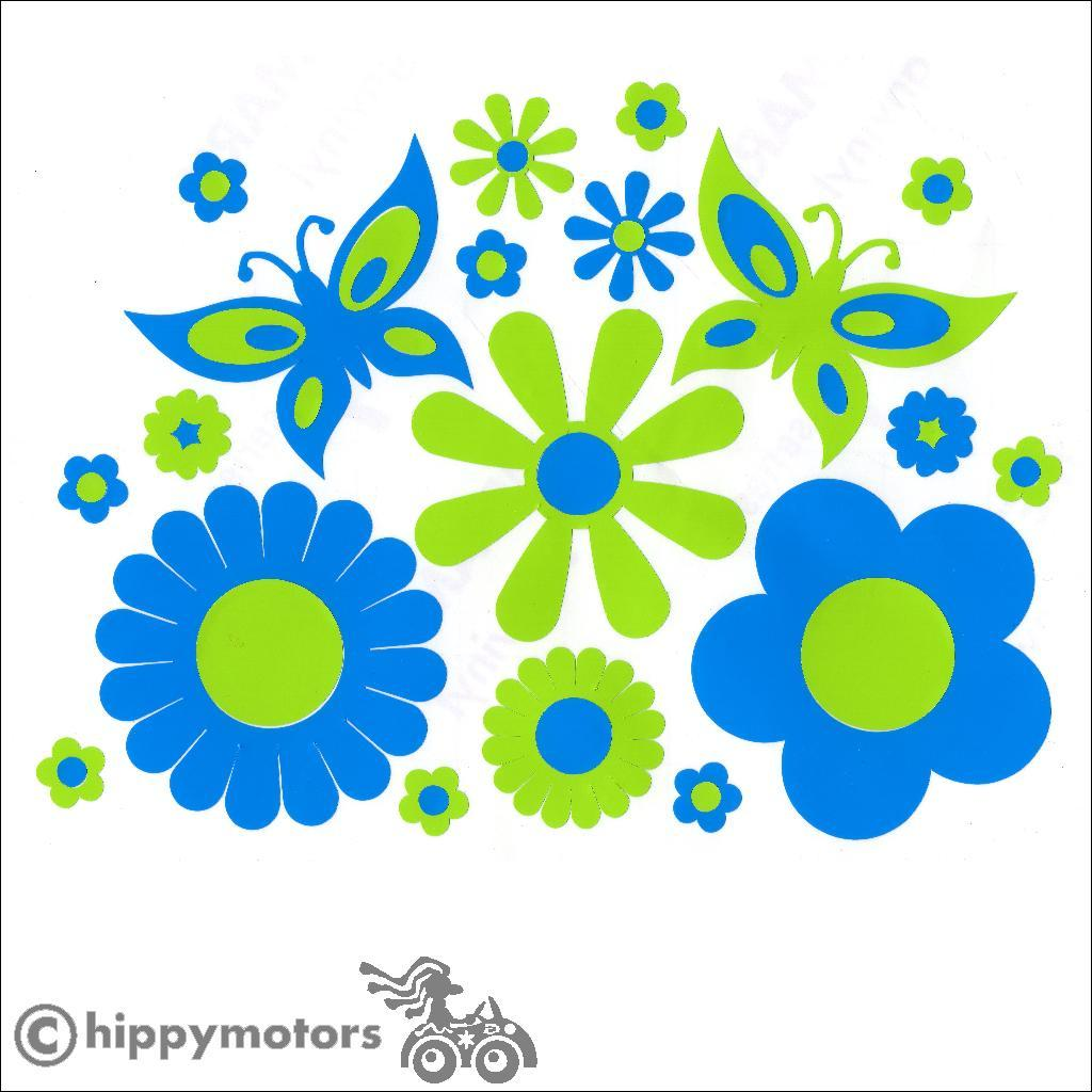 Mixed flower bed and butterfly decals for cars