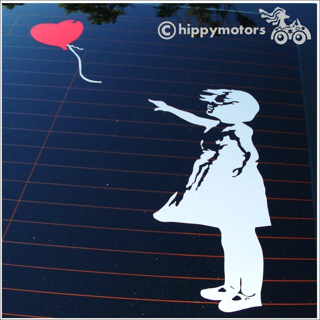 girl with a heart balloon decal