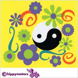flower yin yang and curl car decal set