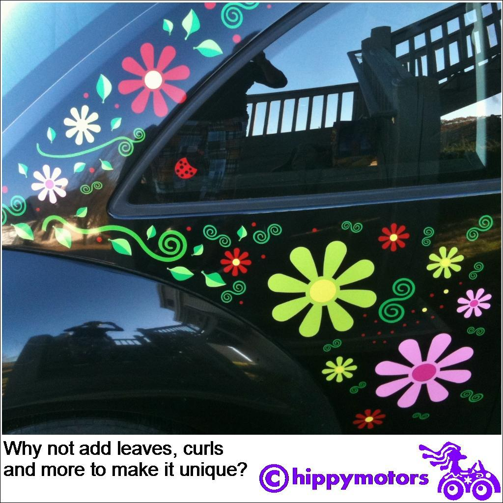 Daisy flowers on VW Beetle