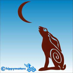moon hare car sticker caravan transfer decal hippy motors