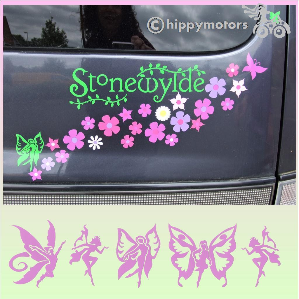 fairy decals flower stickers hippy motors
