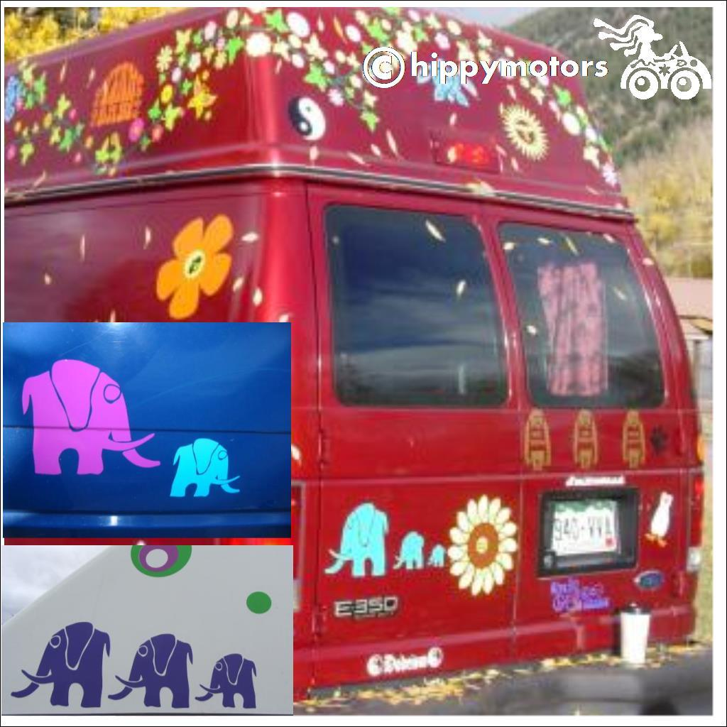 Elephant transfer decals on van caravan and car