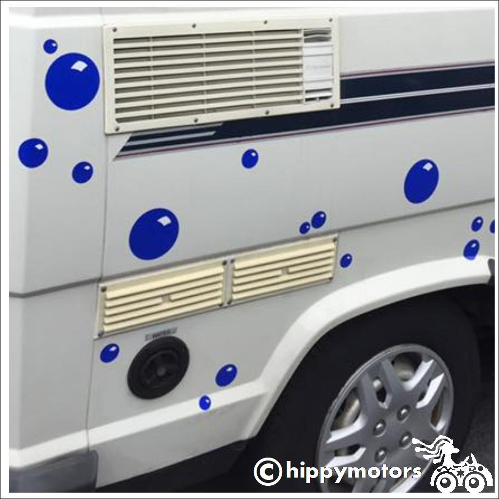 vinyl bubble stickers on caravan campervan