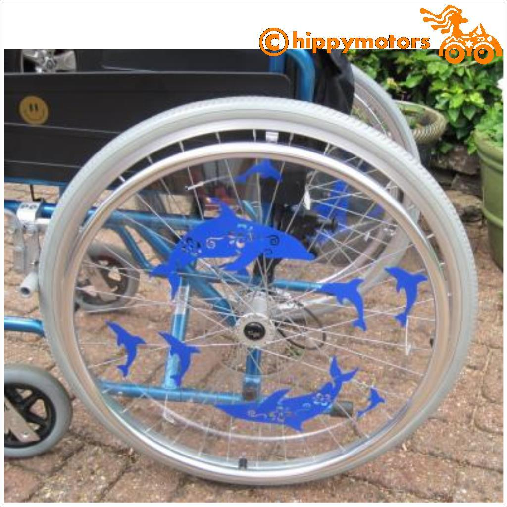 Dolphin decals on wheel chair