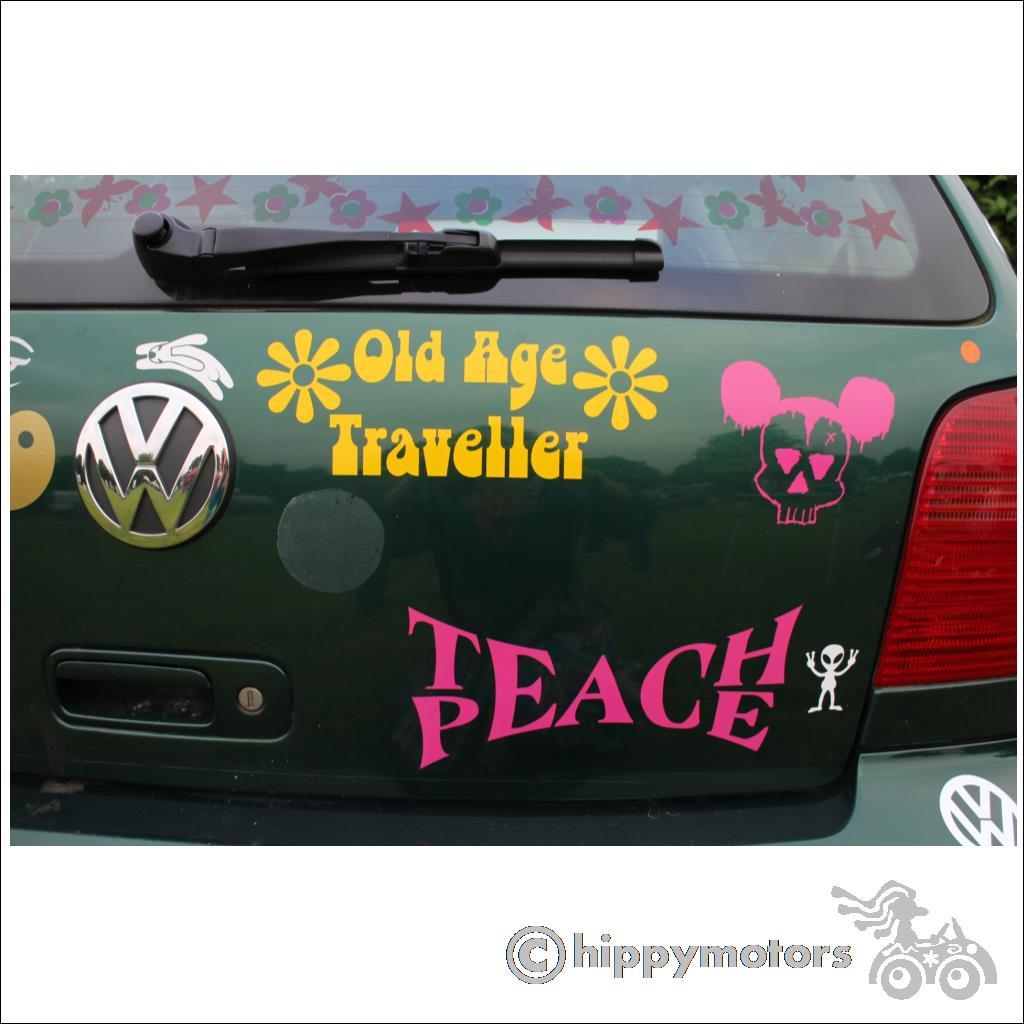 Banksy teach peace decal on car