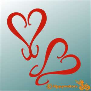 heart swirl curl vinyl stickers for vehicle wall window