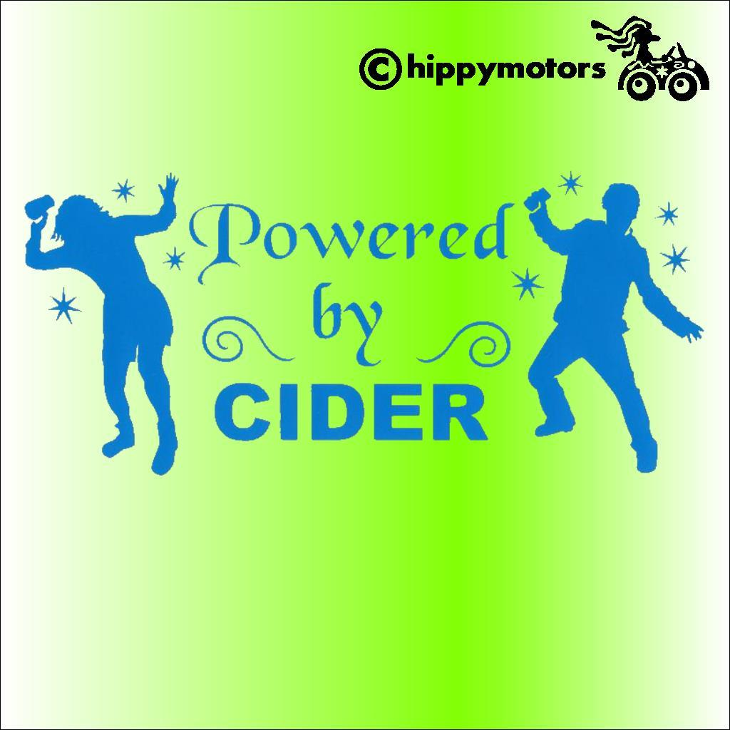 vinyl decal showing dancing hippies drunk on cider or, maybe powered by cider
