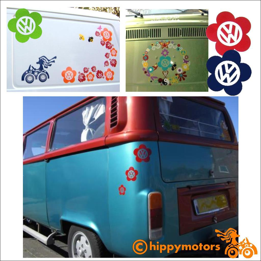 flowers vinyl decals with vw logo on camper vans caravans