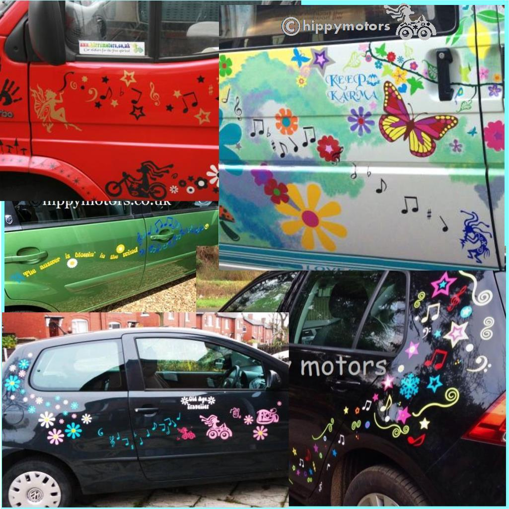 music notes vinyl decals on camper van and cars with flower stickers