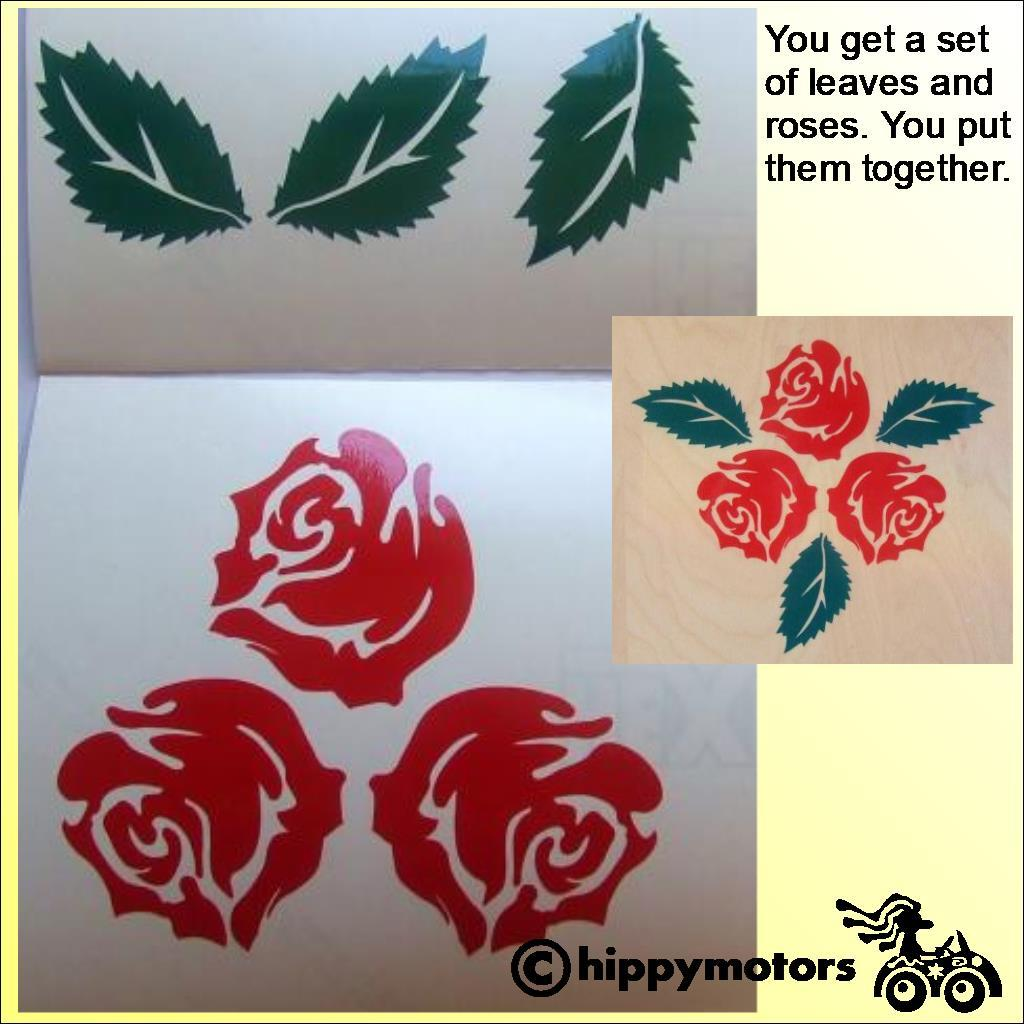 Rose decal for vehicles with leaves