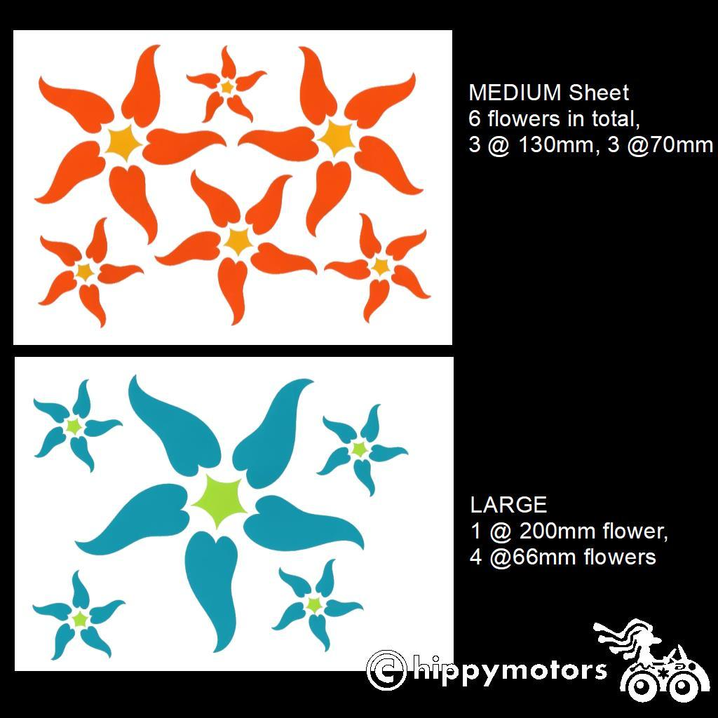 Starfish look flower decal sheets