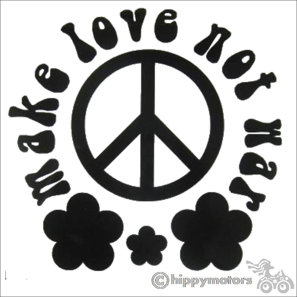 make love not war decal with CND symbol