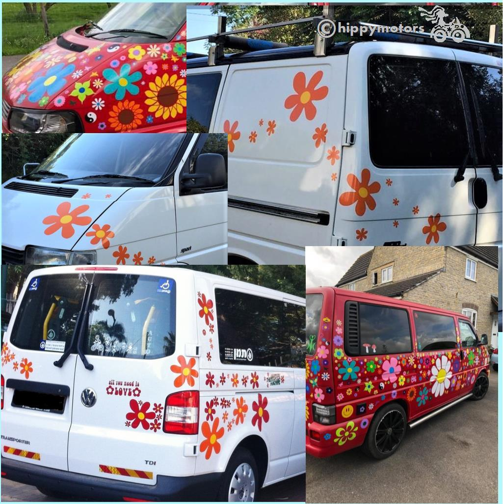 Scooby Doo Flower decals on a van rear